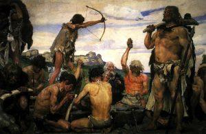 Grupo de personas de la edad de piedra
