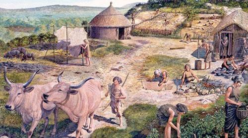 Aldea ganadera del neolitico