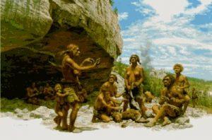 Grupo de homínidos del paleolítico medio