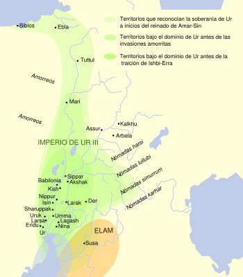 Mapa en la época de la tercera dinastía de Ur